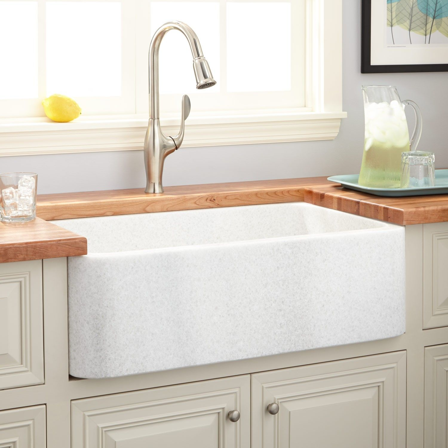 36 Polished Marble Farmhouse Sink White Thassos With Images