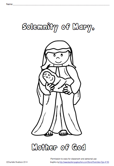 Free Solemnity of Mary, Mother of God coloring sheet from