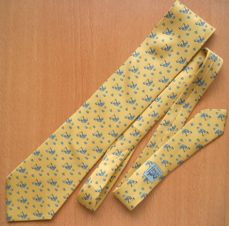 6562a756afc1 100% Auth HERMES Tie Fishing Eskimo Yellow-Blue 7933 MA FLAWS | eBay ...