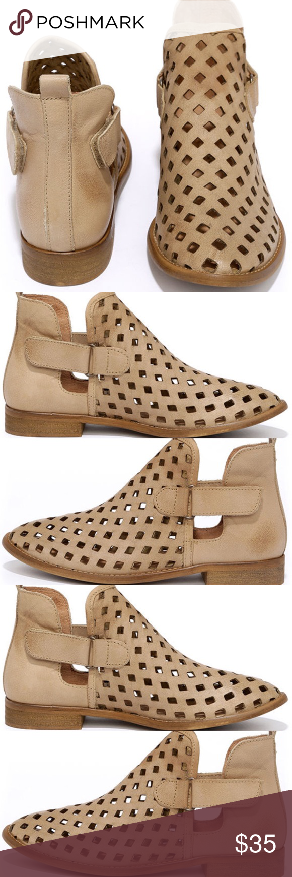 "Musse & Cloud Taupe Leather ankle boots These ankle booties have a leather cutout upper and almond toe. There is a cool cutout shaft with VELCRO fasteners on each side 1"" block heel cushioned insole Musse & Cloud  Shoes Ankle Boots & Booties"