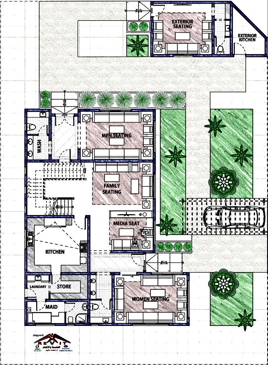 مخطط فيلا سعودي خليجي مودرن لاند سكيب Modern House Exterior Architectural House Plans House Styles
