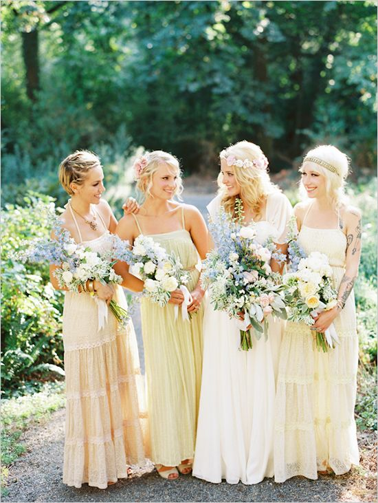 50 Chic Bohemian Bridesmaid Dresses Ideas | Yellow bridesmaids ...