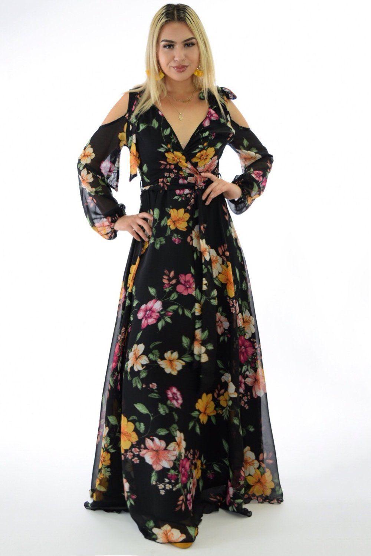 Angela black flowy maxi dress in 2020 dresses bodycon