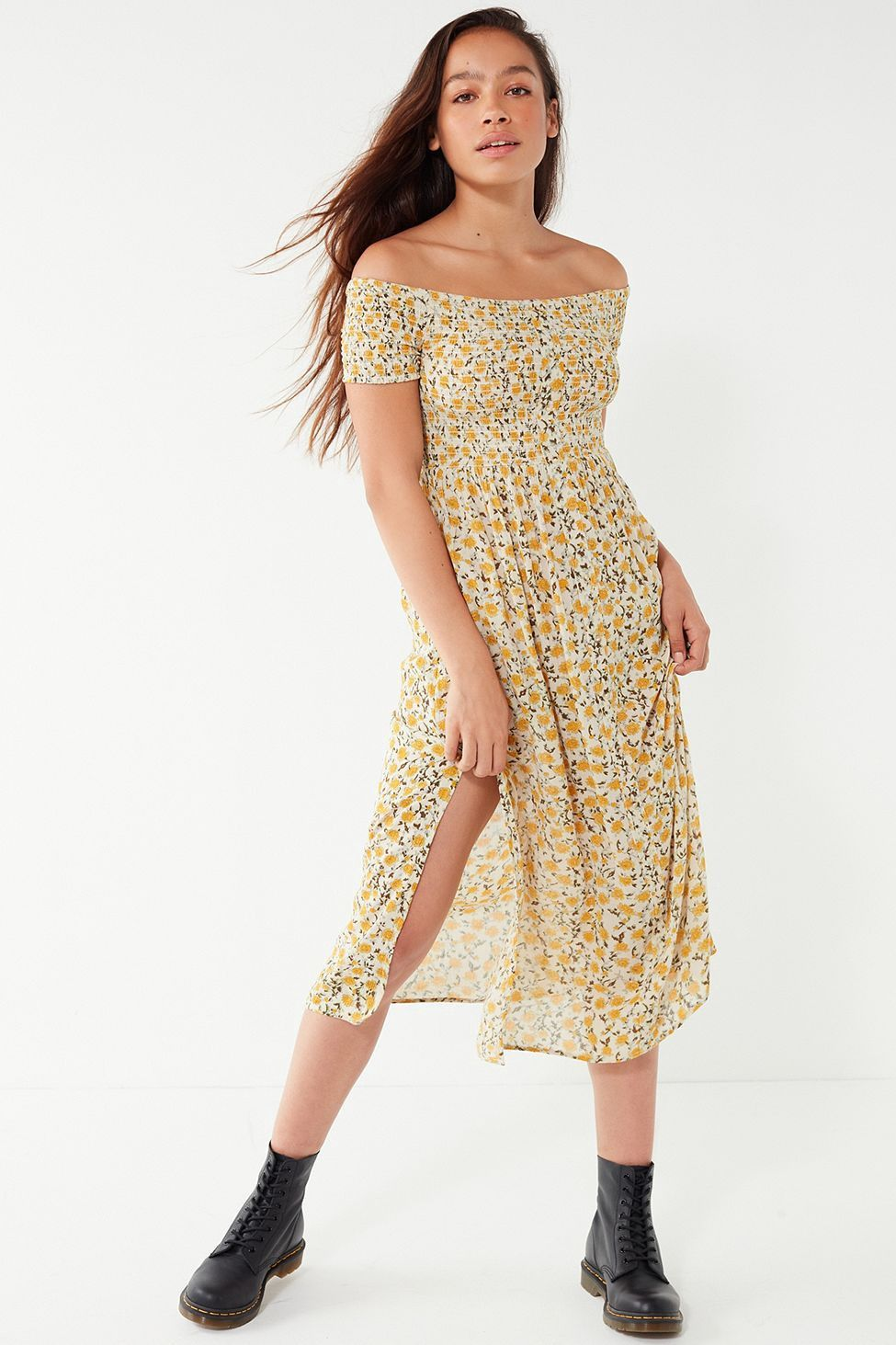 7b6d63960fd Urban Outfitters Uo Monica Smocked Off-The-Shoulder Midi Dress ...