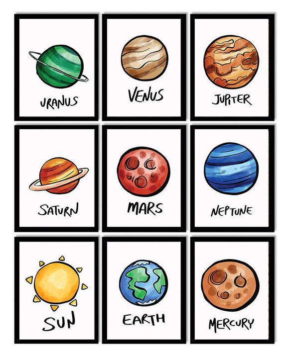 Planets Set of 9 Planet Prints Printable Solar System ...