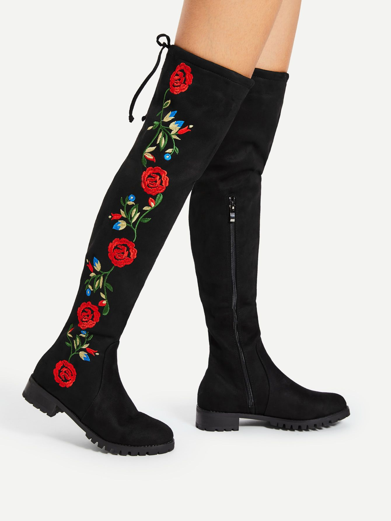 17cfd102ff Shop Flower Embroidery Over The Knee Boots online. SheIn offers Flower  Embroidery Over The Knee Boots & more to fit your fashionable needs.