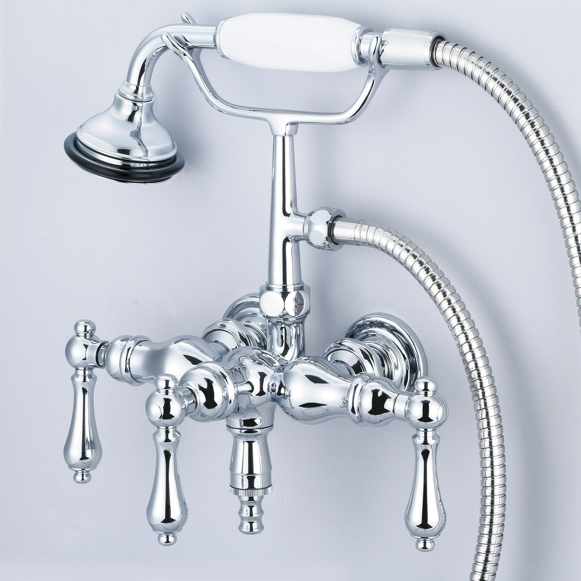 Water Creation Chrome 3 3 8 Inch Center Wall Mount Tub Faucet With