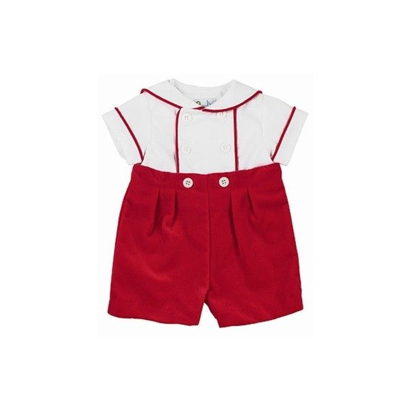 dd33ba4a8 Florence Eiseman Infant Boys Red Velvet Button On Christmas Outfit ...