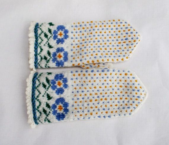 hand knitted wool mittens, latvian mittens, patterned white blue orange mitts…