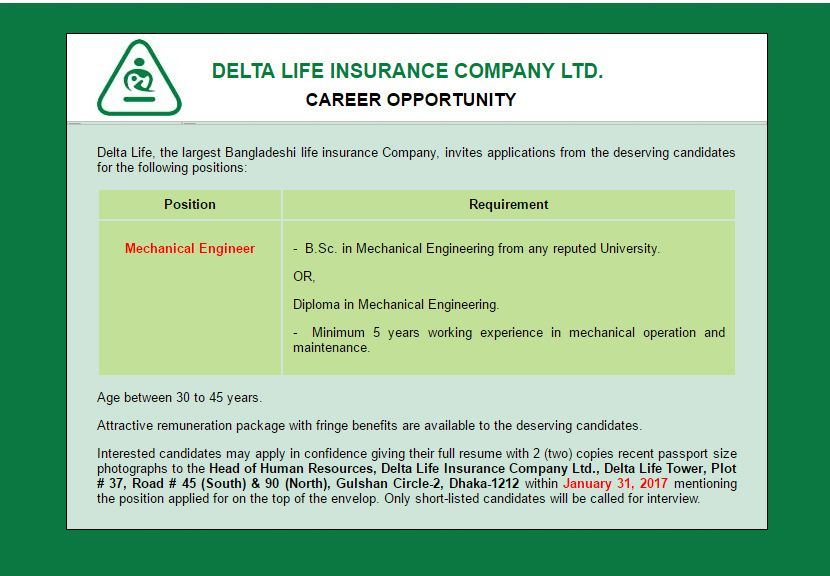 Delta Life Insurance Company Ltd Post Mechanical Engineer