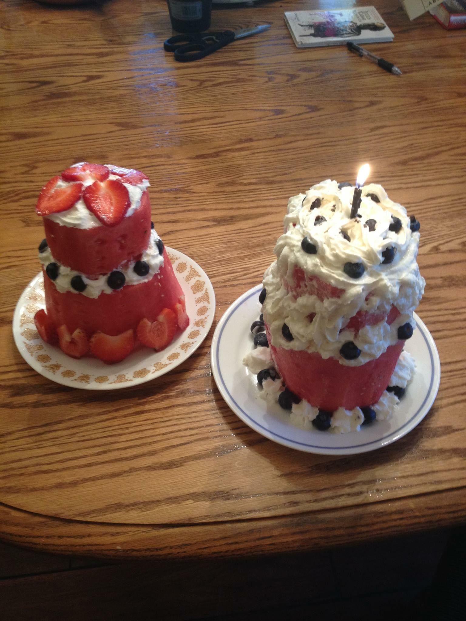 Watermelon birthday cake with strawberries & blueberries ...