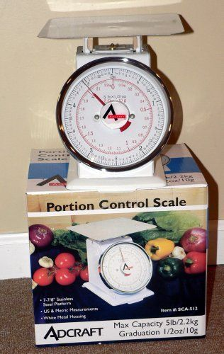 "Adcraft SCA-512 5Lb. Commercial Portion Control Scale by Admiralcraft. $34.99. 7-7/8"" Platform, 5lb (2.2kg)scale 1/2 oz increments,. Brand New in Retail Color Packaging. Please note that scale in photo is not at '0' because of safety packaging for shipping it will calabrate at '0' when you remove the packaging  7-7/8"" Platform, 5lb (2.2kg)scale 1/2 oz increments,  Brand New in Retail Color Packaging  Adcraft's commercial line of scales gives you the variety that your busy ..."