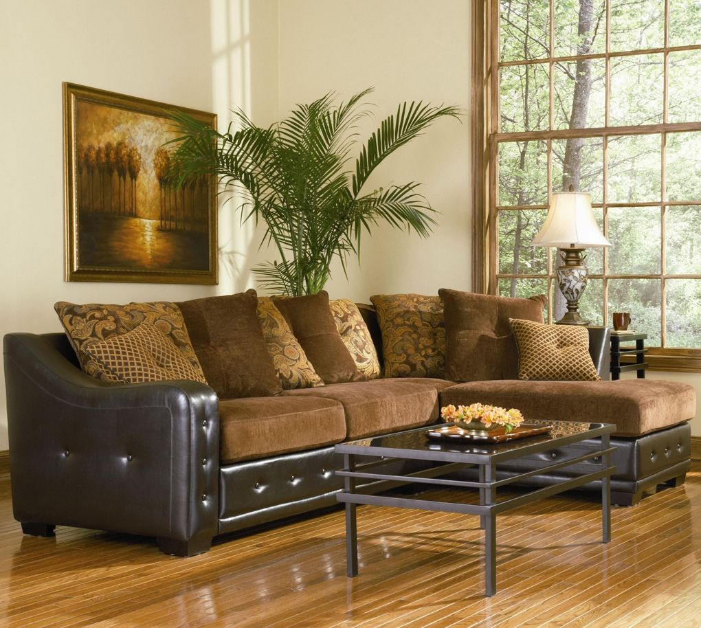 Wonderful Chenille And Leather Sectional Sofas
