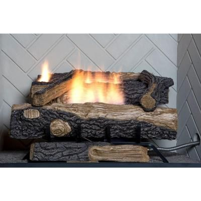 Emberglow 24 In Seasoned Hickory Vented Natural Gas Fireplace Log