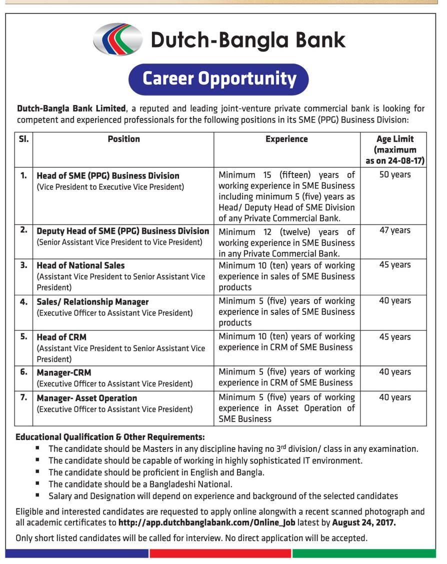 Career Opportunity At Dutch Bangla Bank Limited(DBBL) | ডাচ বাংলা ব্যাংক লিঃ এ বিভিন্ন পদে নিয়োগ বিজ্ঞপ্তি - Khabor BD24: One of the best online news portal in Bangladesh Sme Business, Commercial Bank, Career Opportunities, Opportunity, Positivity