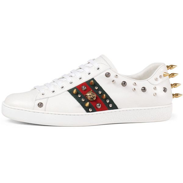 Mens white sneakers · Gucci New Ace Studded Leather Low-Top Sneaker ($790)  ❤ liked on Polyvore
