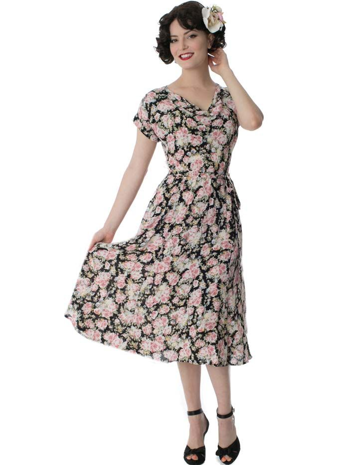 More Forties Inspired Flair: Charming Vintage Rose Print Dress With A Late 1940s, Early