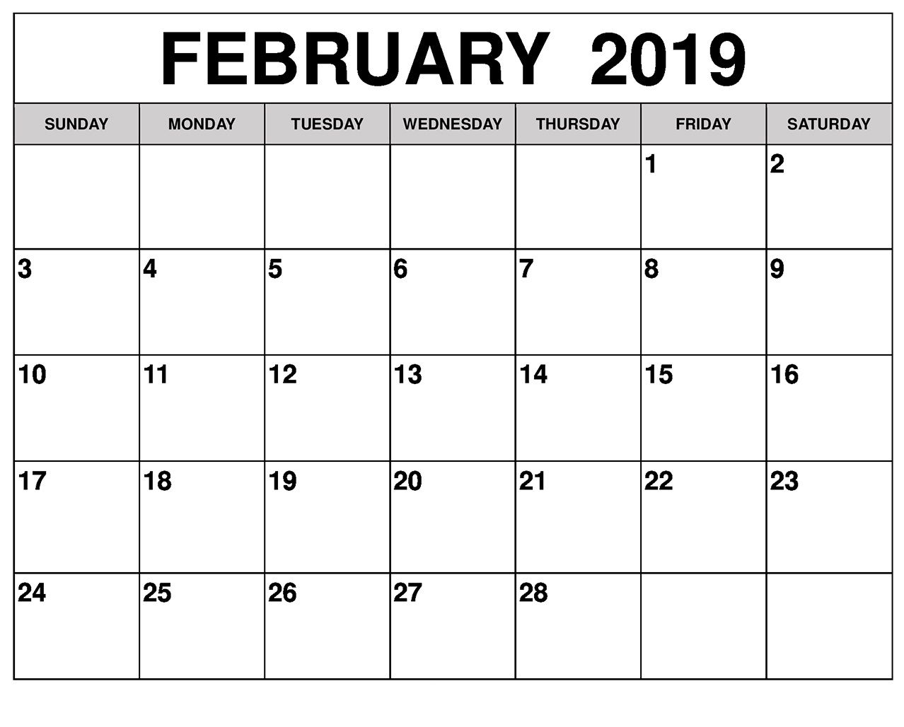 Editable February 2019 Calendar Printable Printable Calendar