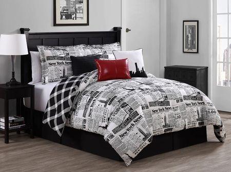 7 Piece Newspaper Reversible Comforter Set Comforter Sets