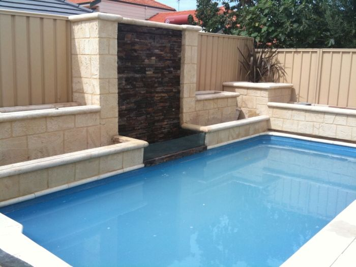 Limestone render perth artificial rock perth water - Swimming pool water features perth ...