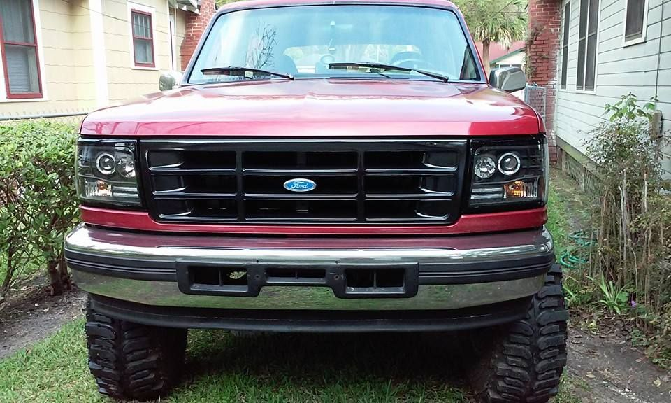 Blacked Out The Grill To Match The Headlights Ready For The New Bumper Ford Bronco Lifted Ford Trucks Ford Trucks