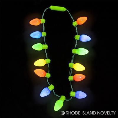 Bring On The Merry With Our 16 Inch Jumbo Light Up Christmas Bulb Necklace You Re Sure To Feel Christmas Light Necklace Retro Christmas Lights Christmas Bulbs