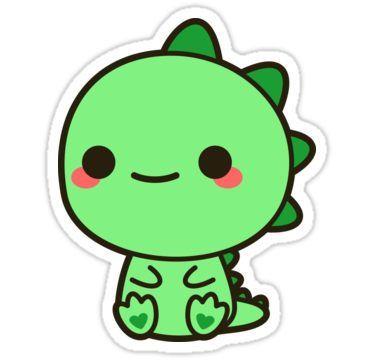 Kawaii Dinosaur Sticker By Peppermintpopuk Cute Kawaii Drawings Kawaii Dinosaur Cute Drawings