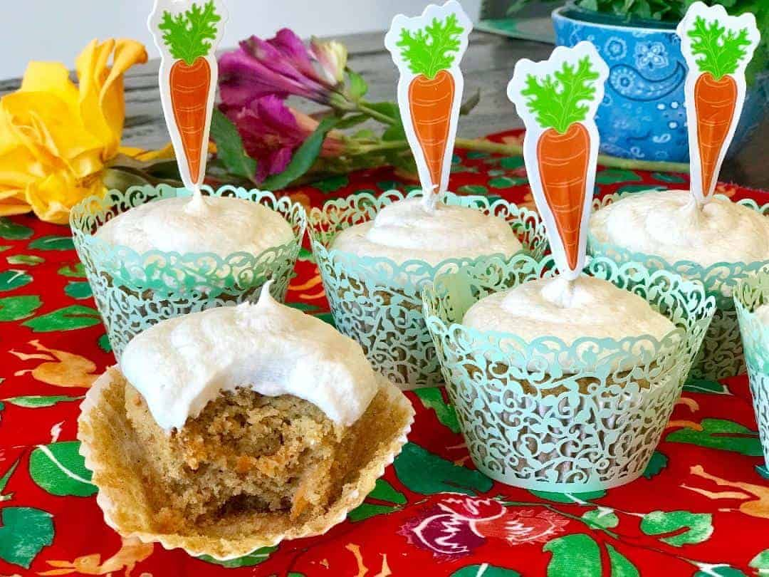 Carrot cake cupcakes with sweet vanilla frosting vegan