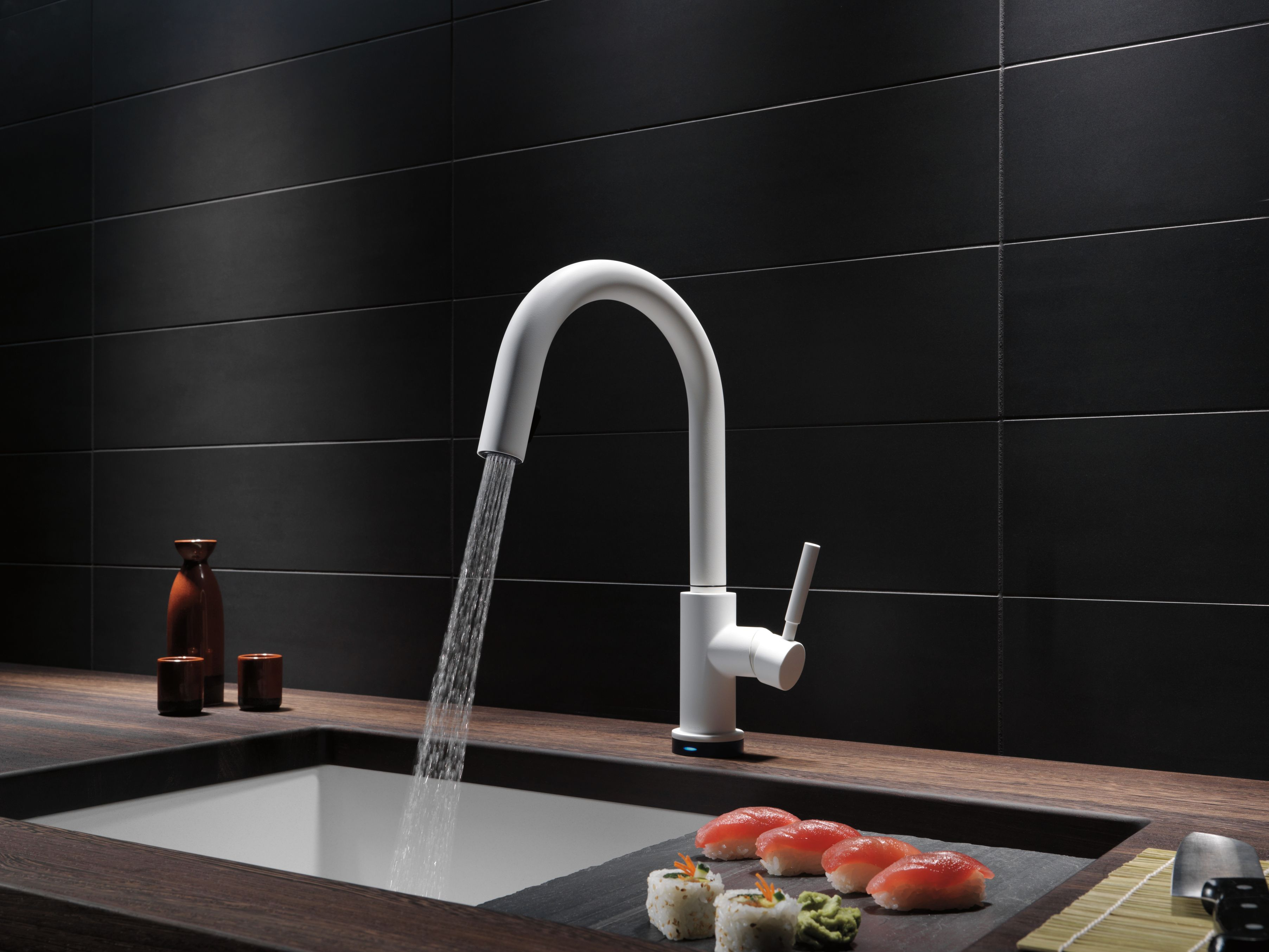 The Solna faucet by Brizo in a Matte White finish stands as an ...