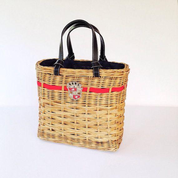 Retro Rattan Bag  60s Basket Bag  Vintage by modernmatters on Etsy, $48.00