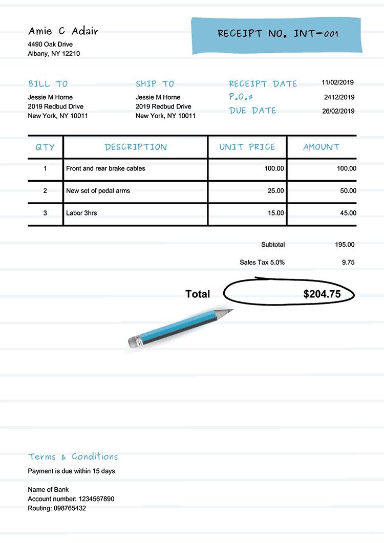 Receipt Template En Workbook Light Blue No Logo Invoice Template Receipt Template Free Receipt Template