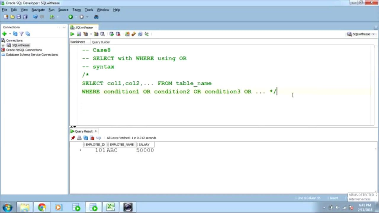 SQL SELECT with WHERE .. contd2 Sql, The selection, Syntax