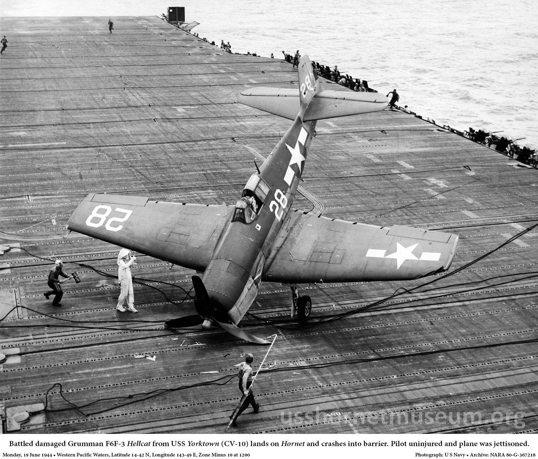 Grumman F6F5 Hellcat VF 1 White K28 landing mishap CV 12