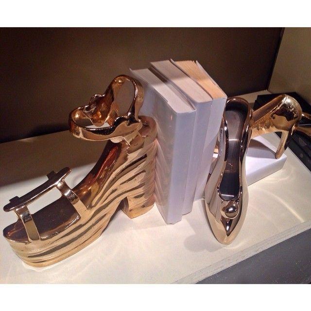 Nima Oberoi Lunares gold shoe bookends!
