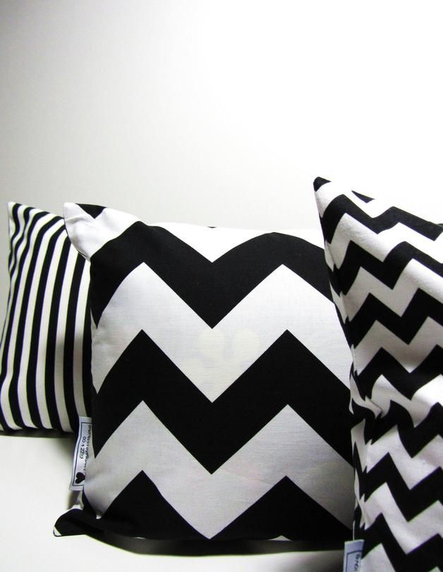 Kissenhülle Chevron    pillow case with chevron pattern via - wohnungseinrichtung schwarz wei
