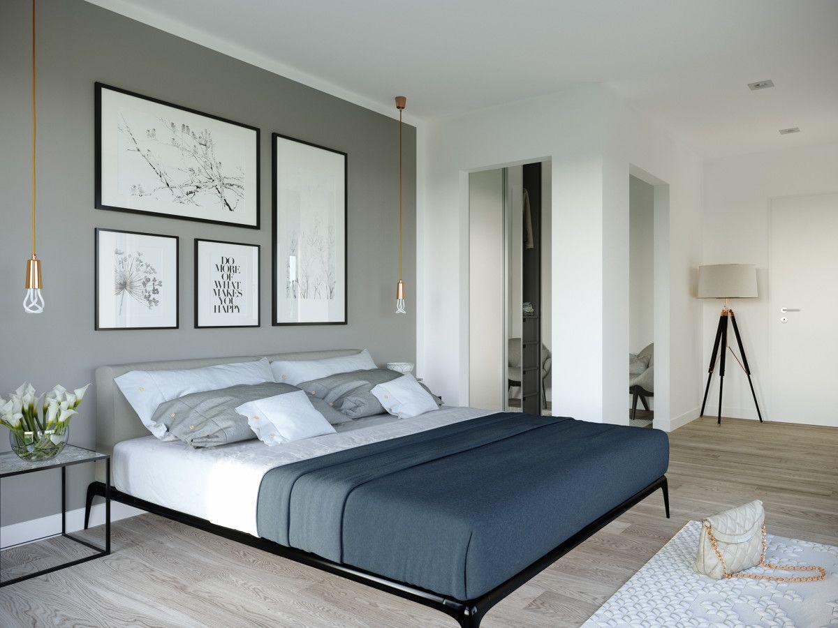 Schlafzimmer Grau Weiß Einrichten   Einrichtungsideen Haus Concept M 198  Bien Zenker   HausbauDirekt.de