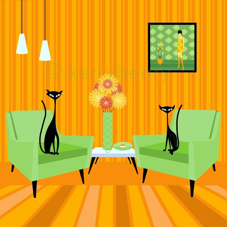 Mid Century Modern Art | Mid Century Design Modern Cat Art Print by Kerry Beary - 12x12 inches ...