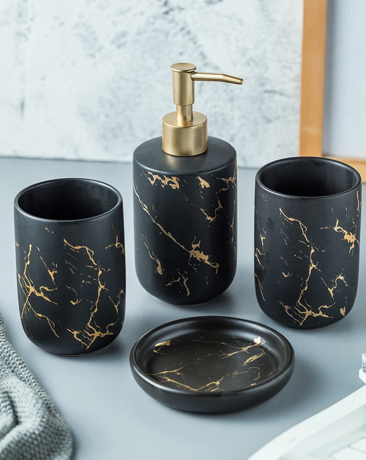 Black Gold Marble Style Ceramic Bathroom Accessory Kit Toothbrush Ho House Boutique Black And Gold Marble Soap Dispenser Marble Bathroom
