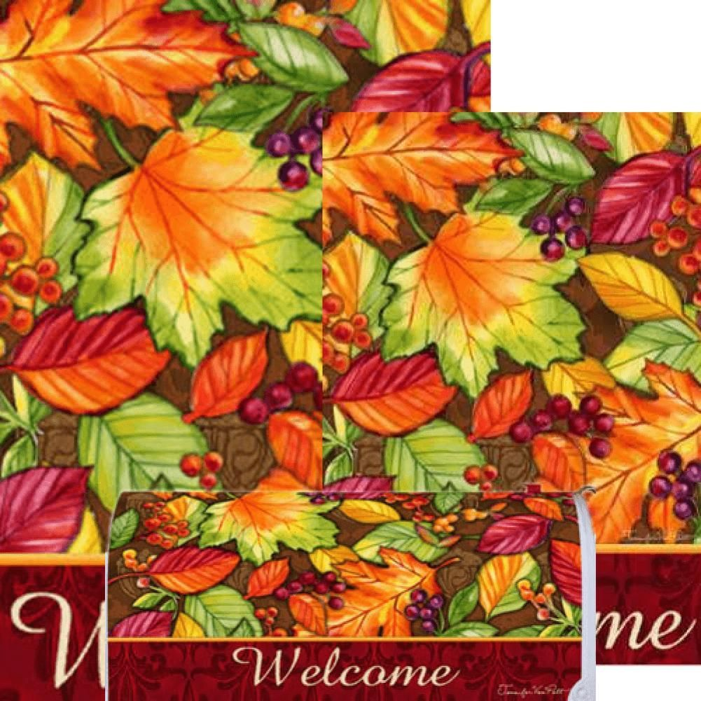 Custom Decor Welcome Leaves Yard Makeover Set 3 Pieces Garden