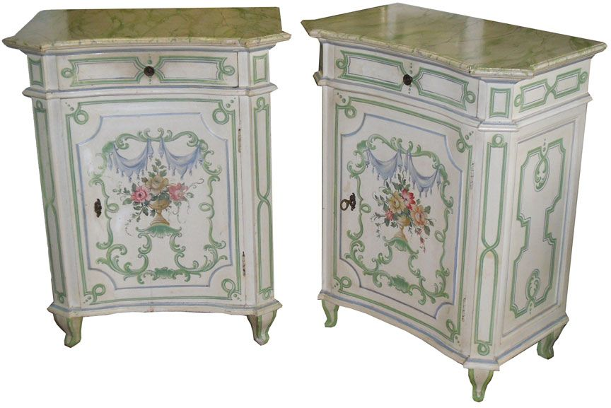 Pr of Italian Hand Painted End Tables, Night Stands decorative