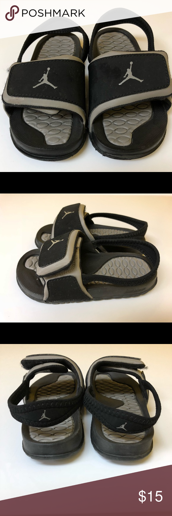 5fc01dfc3d3943 Jordan slides (size 9C) black   grey Jordan slides size 9C good used  condition  15.00 Jordan Shoes Sandals   Flip Flops