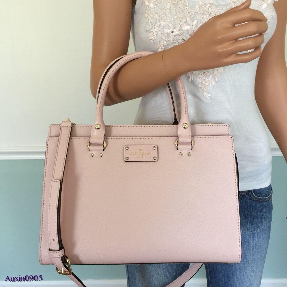 33516605338446 KATE SPADE Pink Wellesley Leather Durham Satchel Tote Shoulder Bag Purse # katespade #SatchelShoulderCrossbodyBag