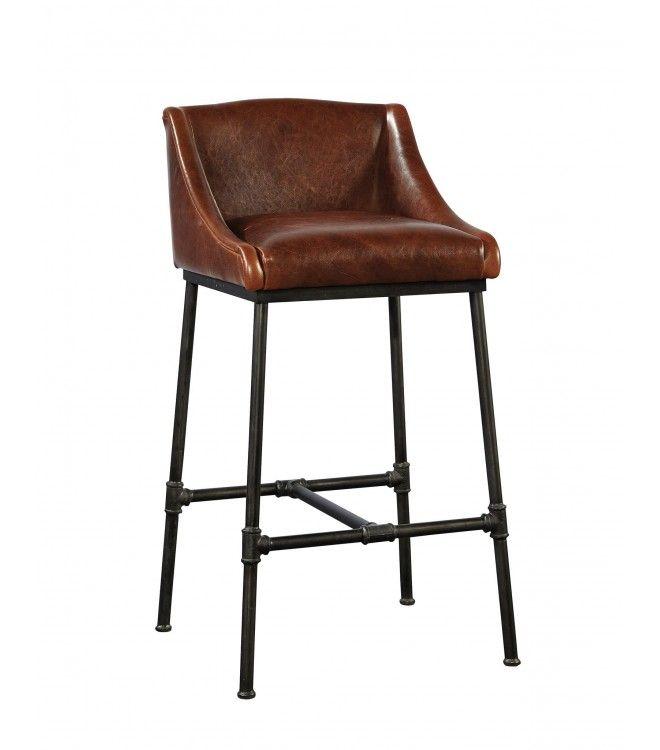 High Quality Leather U0026 Iron Pipe Comfort Bar Stool