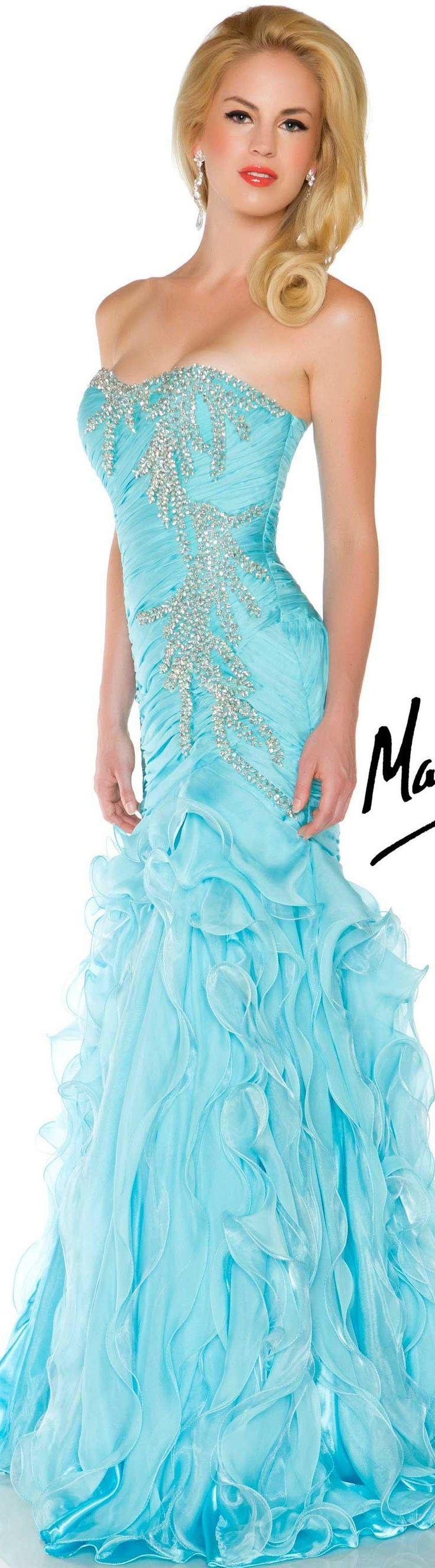 Mac duggal couture dress aqua strapless glitter long dress