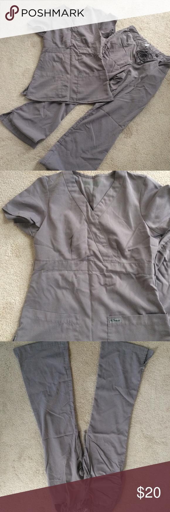 Gray's Anatomy Scrub Set- Gray Gray's Anatomy 2 piece scrub set size XS classic top, size XS petite 5 pocket flare leg pants, in perfect condition Gray's Anatomy Other