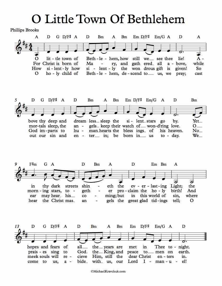 Free Lead Sheet Music – O Little Town Of Bethlehem (Forest Green) - Christmas | Christmas sheet ...