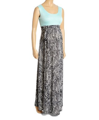 Look what I found on #zulily! Black & Mint Empire-Waist Maternity Maxi Dress - Plus Too #zulilyfinds
