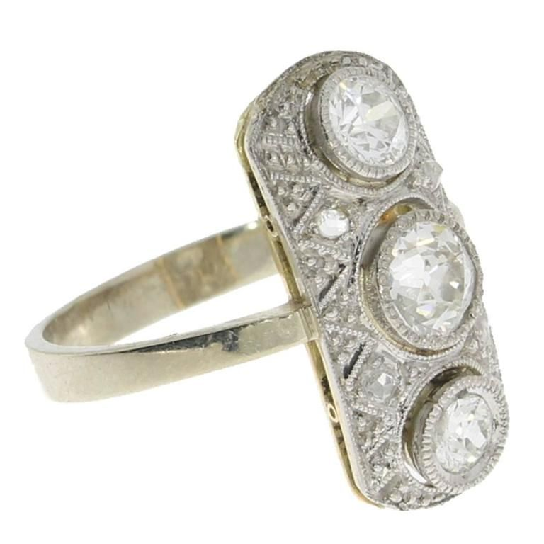 Art Déco Diamond Gold Ring | From a unique collection of vintage cluster rings at https://www.1stdibs.com/jewelry/rings/cluster-rings/
