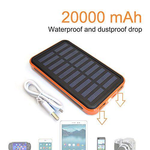 Solar Charger Power 20000mah Outdoor Portable Charger Solar Power Bank Dual Usb External Battery Pack Power Pack With Flashlight Solar Charger Solar Power Bank