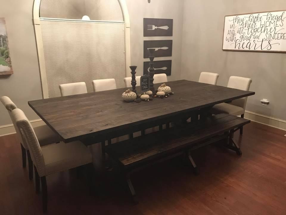 Oversized Farmhouse Table With Bench And Upholstered Chairs This Is In Dark Walnut Stain A Farmhouse Table With Bench Dinning Room Chairs Dinning Room Tables